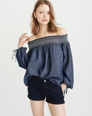 ANF Chambray Off-The-Shoulder Top