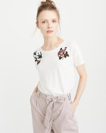 ANF Fabric Mix Embroidery Tee