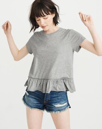 ANF Short-Sleeve Peplum Tee