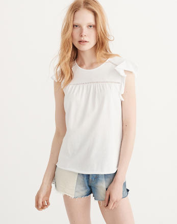 ANF Flutter Sleeve Top