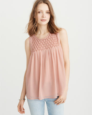 ANF Smocked Sleeveless Top