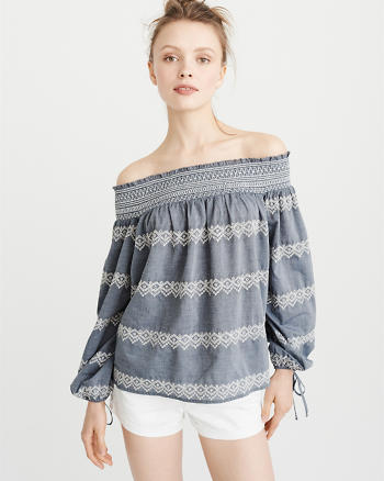 ANF Embroidered Off-The-Shoulder Top