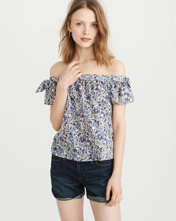ANF Tie-Sleeve Off-The-Shoulder Top