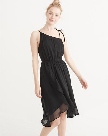 ANF Tie-Shoulder Chiffon Dress