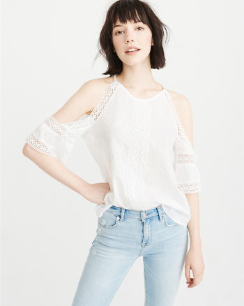 ANF Lace Cold-Shoulder Top