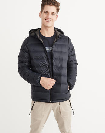 ANF Lightweight Hooded Puffer Jacket