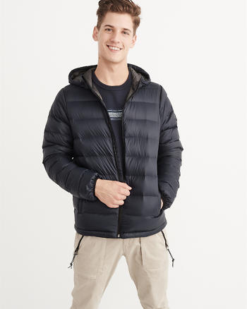 ANF Lightweight Down-Filled Packable Hooded Puffer