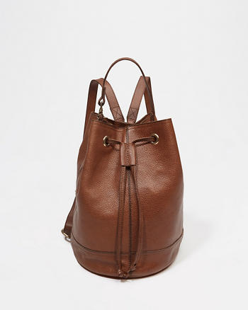ANF Leather Backpack Bucket Bag