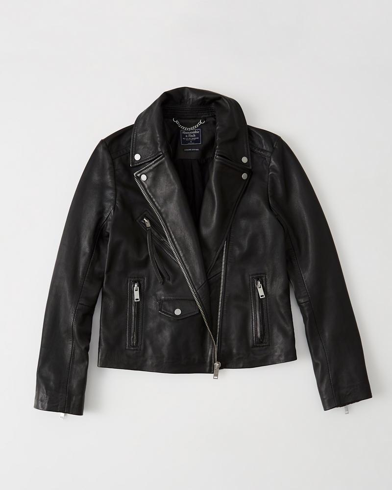 Womens Leather Biker Jacket Womens Coats Jackets Abercrombie Com