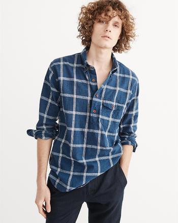 ANF Linen-Blend Popover Shirt