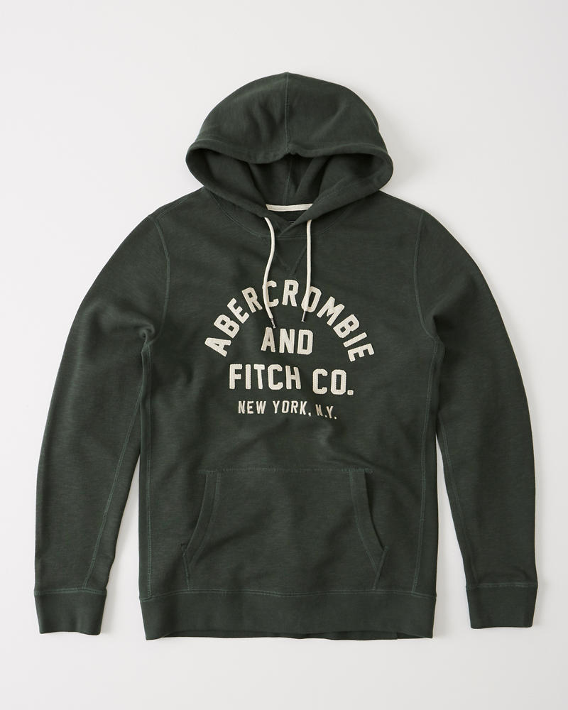 Abercrombie Fitch Applique Logo Hoodie Clearance Heather Grey WQX