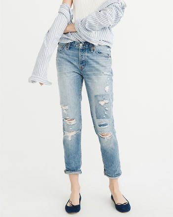 ANF Low-Rise Slim Boyfriend Jeans