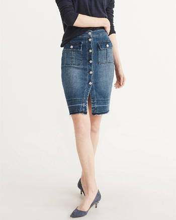 ANF High-Rise Denim Skirt
