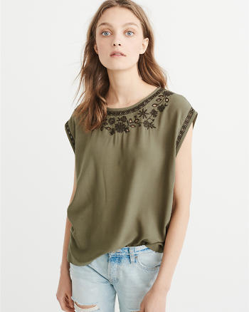 ANF Embroidered Dolman Top