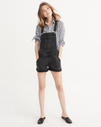 ANF Black Denim Shortalls