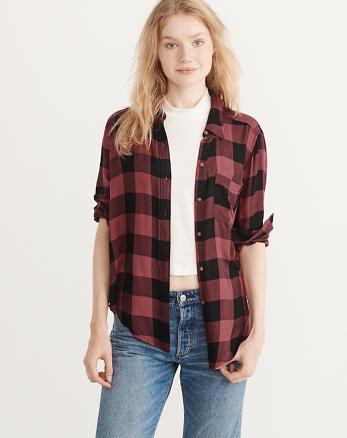 ANF Drapey Plaid Shirt
