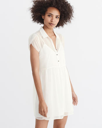 ANF Tulip-Sleeve Shirtdress