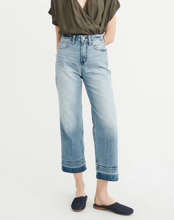 ANF High-Rise Wide Leg Cropped Jeans