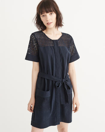 ANF Button-Up Eyelet Dress