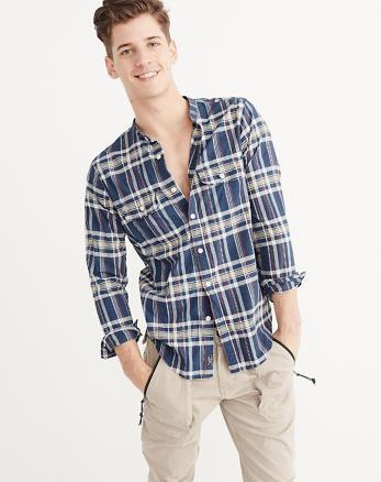 ANF Madras Mandarin Collar Shirt