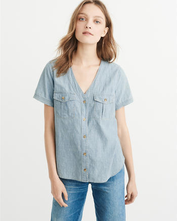 ANF Chambray Baseball Shirt