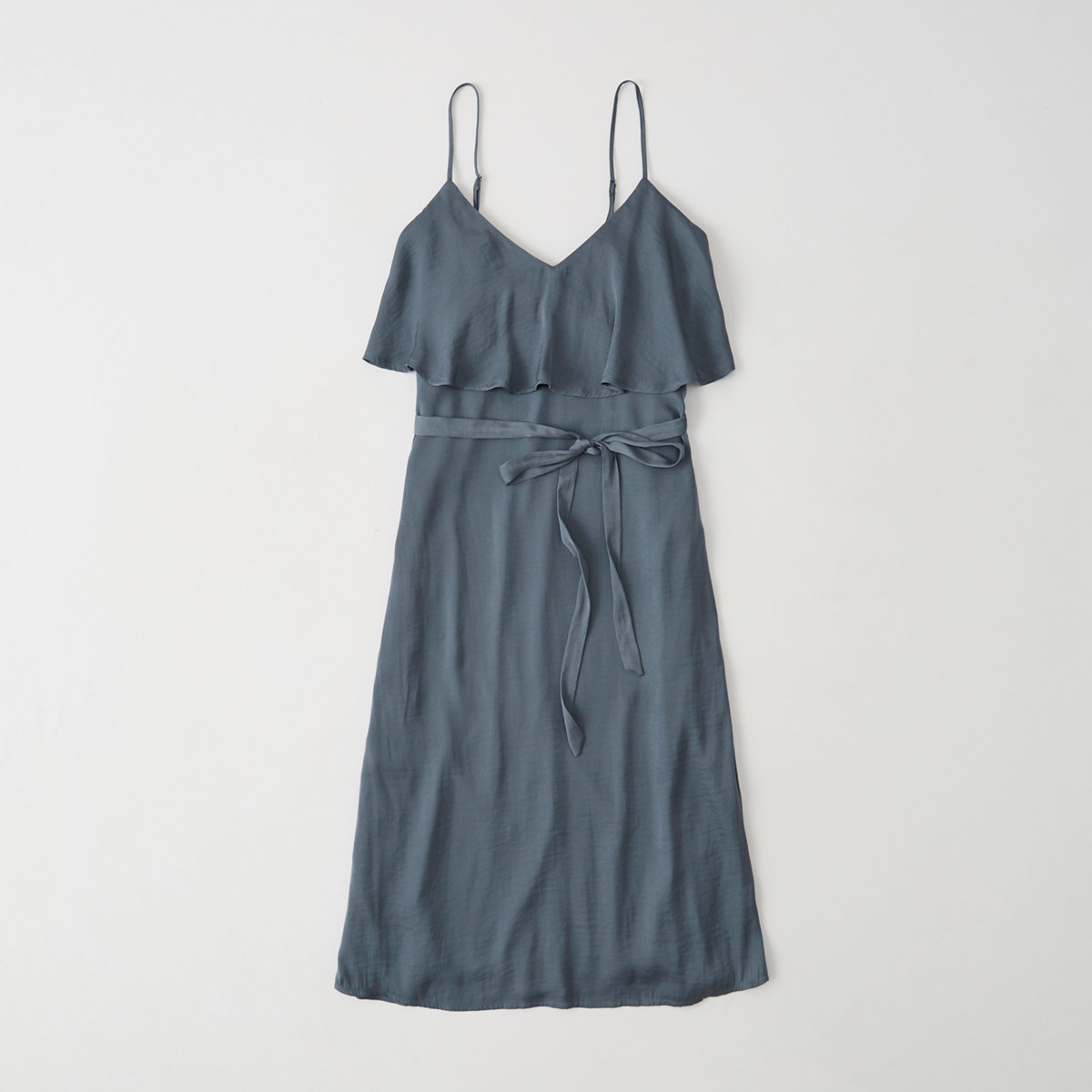 Ruffle Tie-Waist Midi Dress