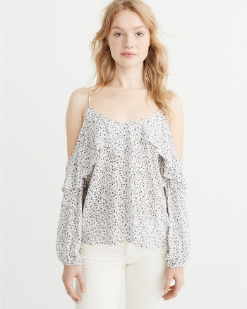 ANF Ruffle Cold-Shoulder Top