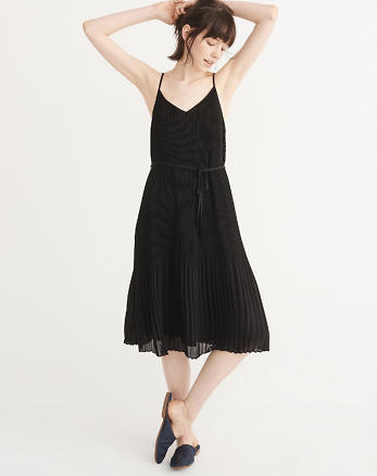 ANF Chiffon Pleated Midi Dress