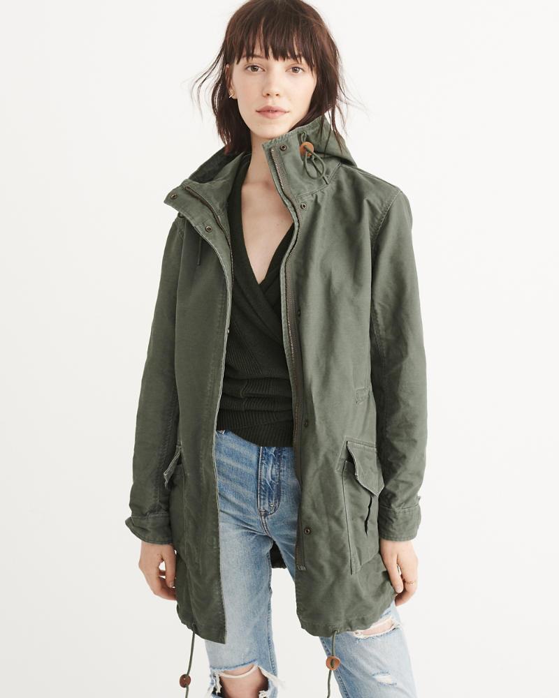 ANF Twill Boyfriend Parka - Womens Coats & Jackets Abercrombie & Fitch