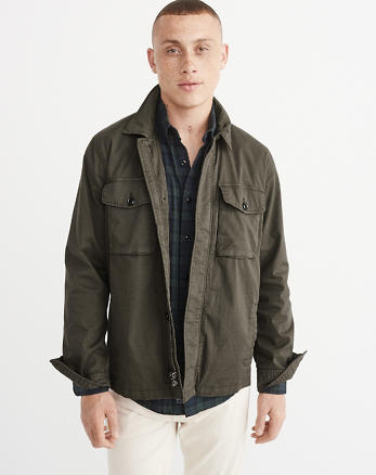ANF Garment Dye Zip-Up Shirt Jacket