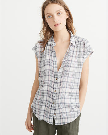 ANF Short-Sleeve Plaid Shirt