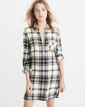 ANF Half-Zip Plaid Shirt Dress