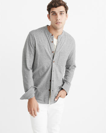ANF Knit Button-Up Shirt