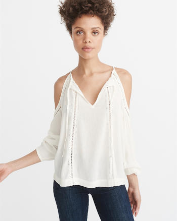 ANF V-Neck Cold-Shoulder Top