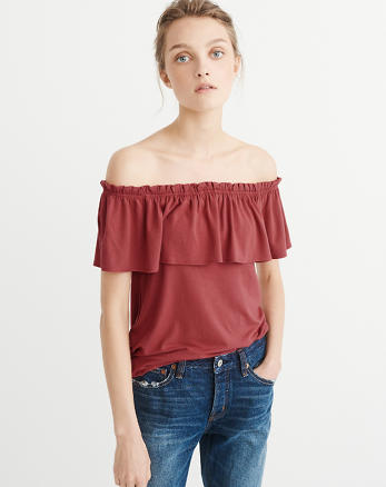 ANF Ruffle Off-The-Shoulder Top