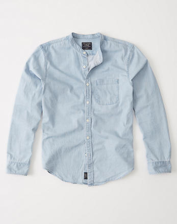 ANF Denim Mandarin Collar Shirt