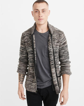 ANF Space Dye Zip-Up Cardigan