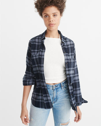 ANF Boyfriend Plaid Flannel Shirt