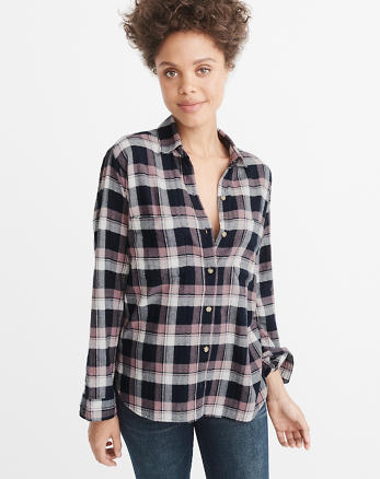 ANF Boyfriend Plaid Flannel Shirt