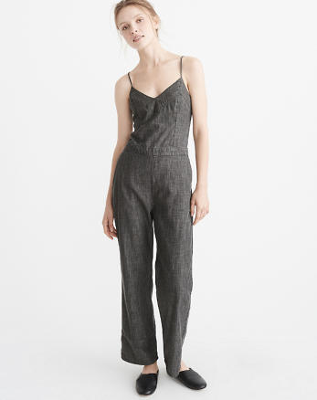 ANF Bow-Back Denim Jumpsuit