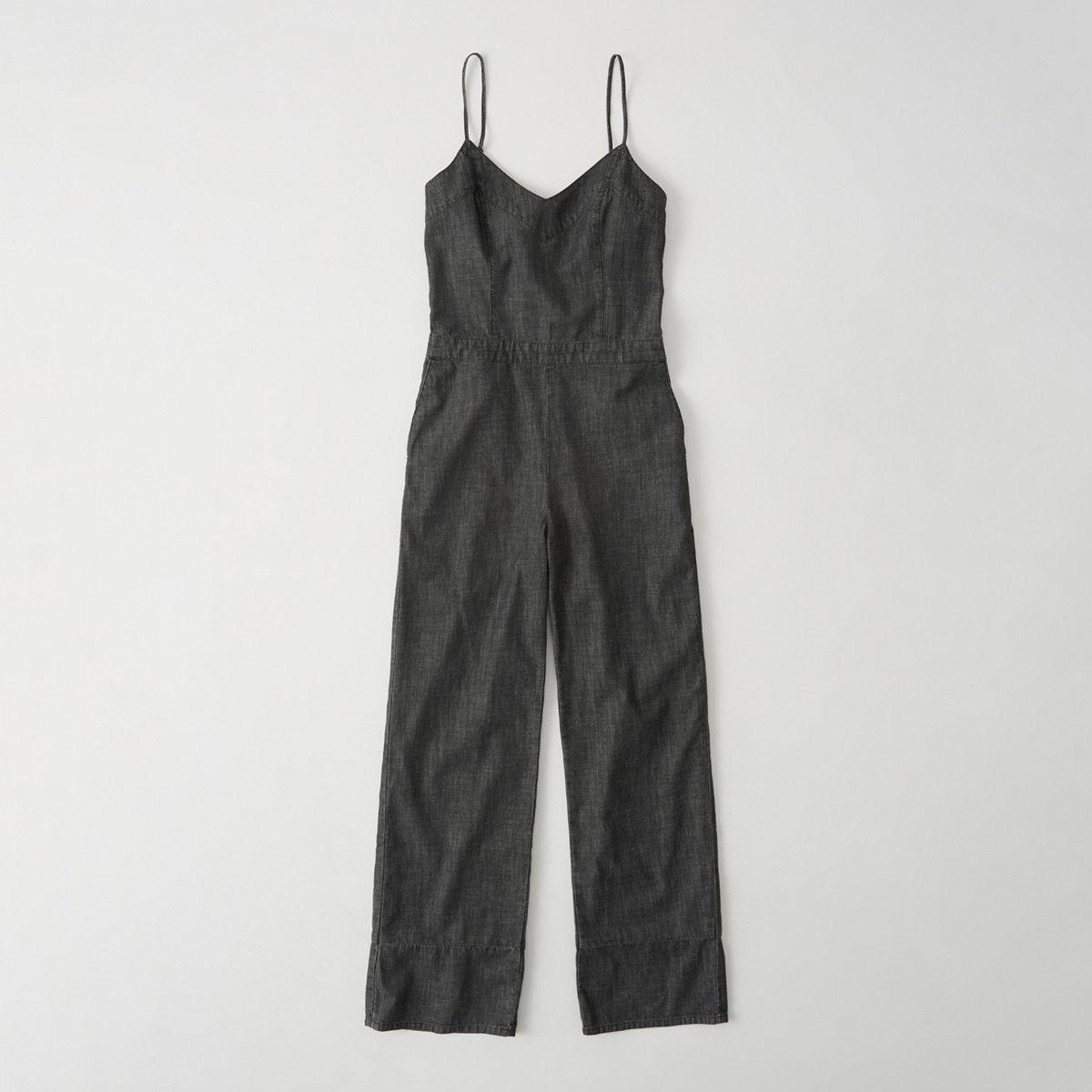 Bow-Back Denim Jumpsuit