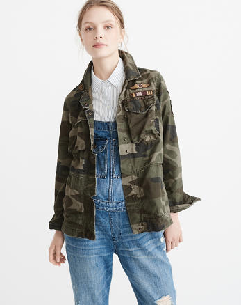 ANF Patch Twill Shirt Jacket