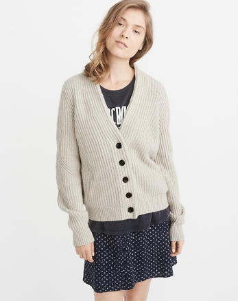 ANF Short Ribbed Cardigan