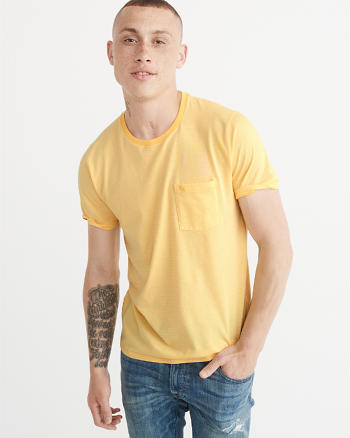 ANF Striped Icon Pocket Tee