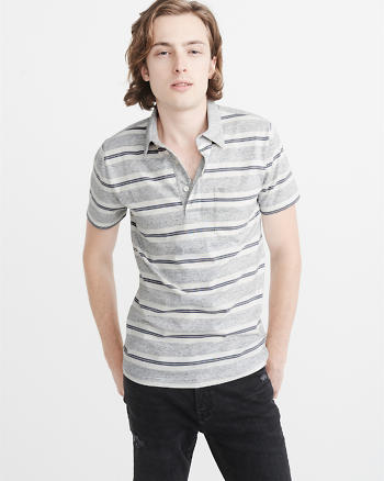 ANF Striped Burnout Polo