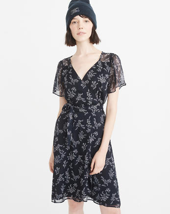 ANF Short-Sleeve Chiffon Wrap Dress