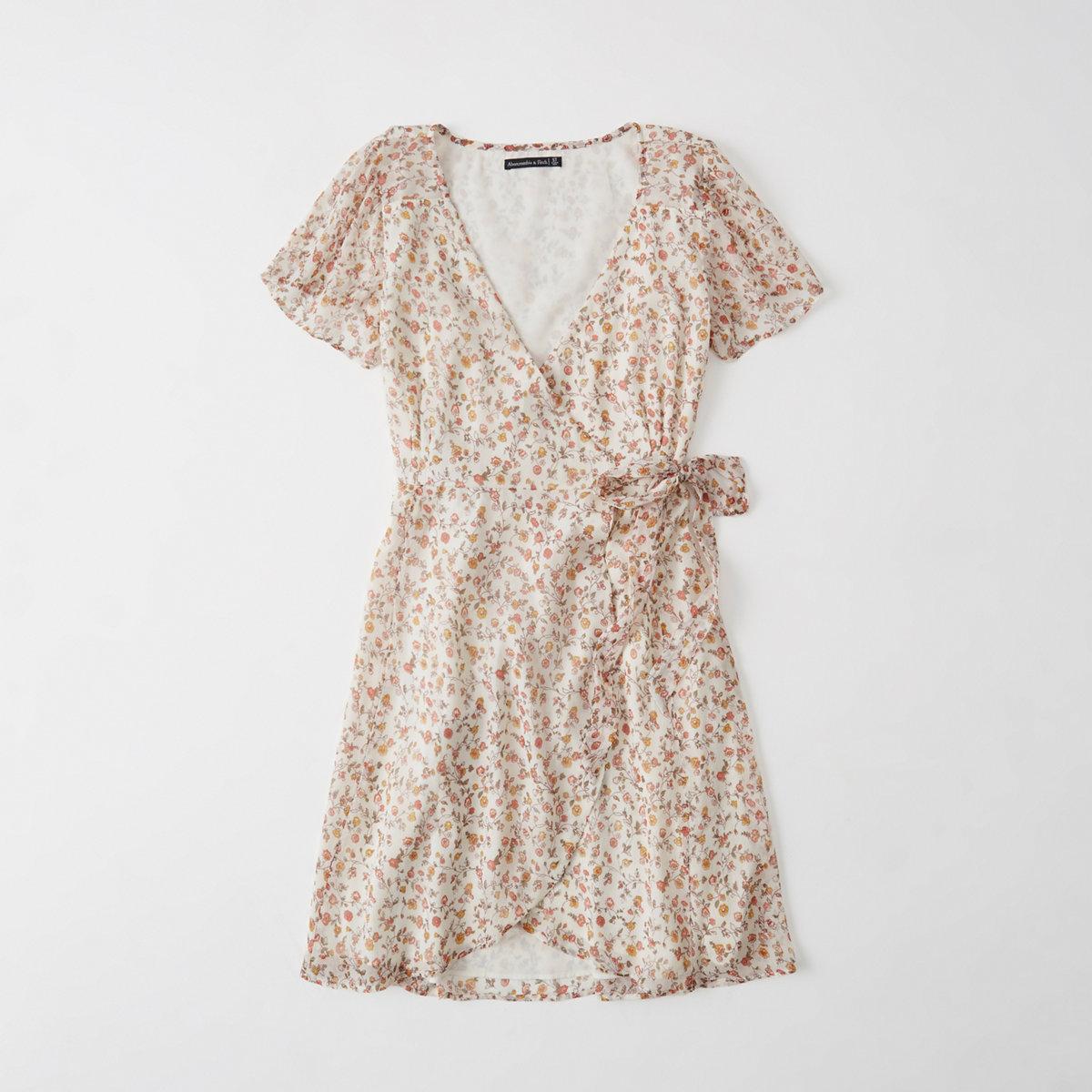 Short-Sleeve Chiffon Wrap Dress