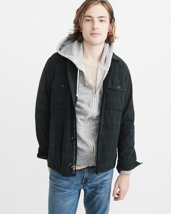 ANF Garment Dye Zip-Up Shirt Jacket