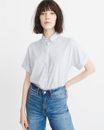 ANF Short-Sleeve Poplin Shirt