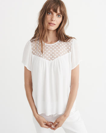 ANF Lace Yoke Top
